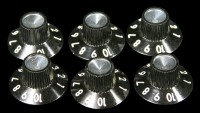 Skirted Black/Silver Knobs Set of 6