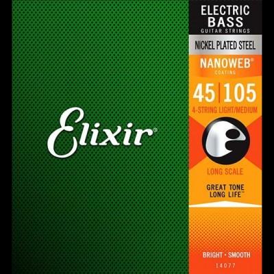 Elixir 14077 Nickel Plated Steel Nanoweb Bass, Medium, 45-105