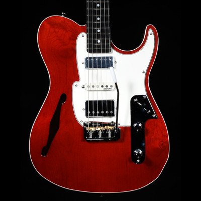Fret-King Black Label Country Squire Semitone De Luxe, Thru Red