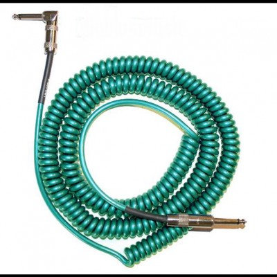 Lava Retro Coil Cable 20ft, Angled to Straight (Metalic Green) LCRCRMG