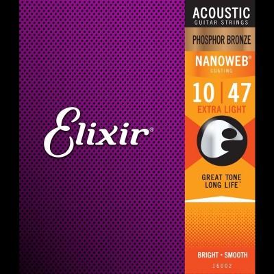 Elixir E16002 Phosphor Bronze Nanoweb Acoustic, Extra Light, 10-47