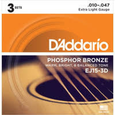 D'Addario  EJ15-3D 3 Pack Phosphor Bronze Extra Light 10-47