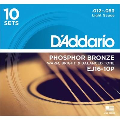 D'Addario's EJ16 Phosphor Bronze, Light, 12-53 (10 Pack)