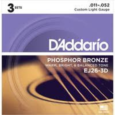D'Addario  EJ26-3D Phosphor Bronze, 11-52 Custom Light 3-Pack