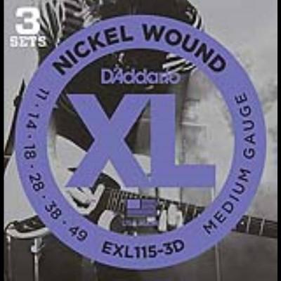 Daddario EXL115 3D Nickel Jazz/Blues Rock Three Pack (11-49)