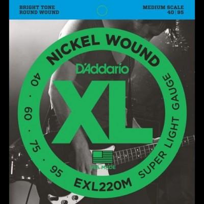 D'Addario EXL220M Nickel Wound Bass, Super Light, 40-95, Medium Scale