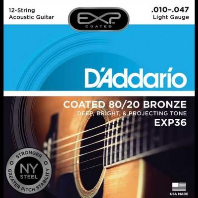 D'Addario EXP36 Coated 80/20 Bronze, 12-String, Light, 10-47