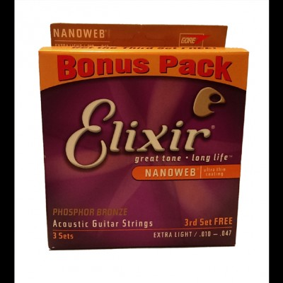 Elixir Phosphor Bronze Nanoweb, Extra Light .10-.47 (3 SETS)