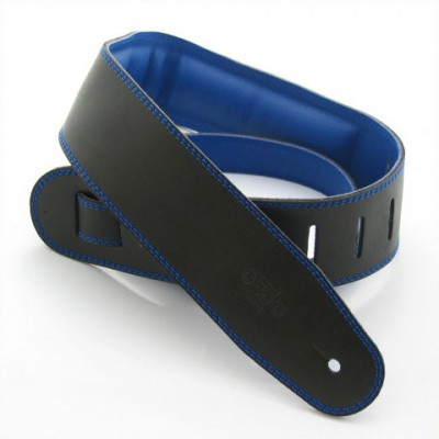 "Guitar Strap Garment Leather 2.5"" + Foam Padding Black with Blue Backing"