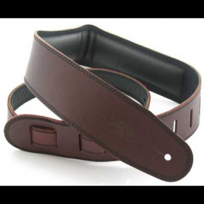 DSL Guitar Strap Leather, Leather Backing 2.5 inch Saddle Brown/Black