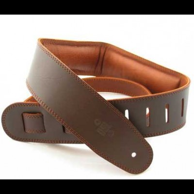 Guitar Strap Leather, Leather Backing 2.5 inch Saddle Brown/Brown