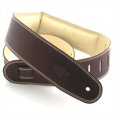 Guitar Strap Leather, Leather Backing 2.5 inch Brown / Beige