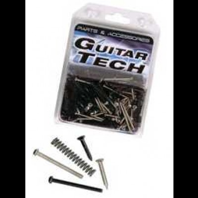 Guitar Tech Pickup Screws and Springs Chrome & Black GT852