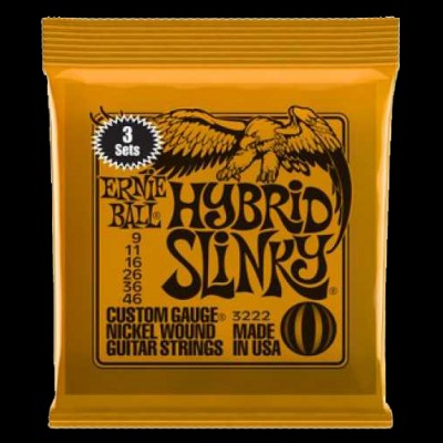 Ernie Ball 3 Pack Hybrid Slinky Electric Strings (9 - 46)