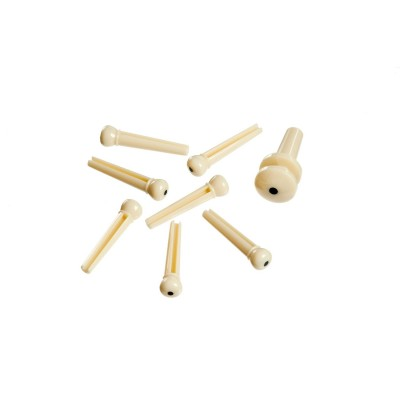 Molded Bridge Pins with End Pin,  Ivory with Black Dot