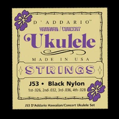 Daddario J53 Hawaiian Ukulele Black Nylon