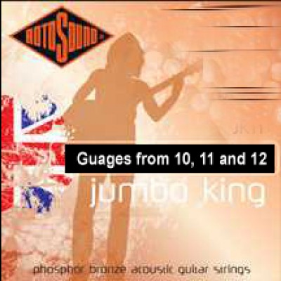 Rotosounds best selling acoustic string. Phosphor Bronze wound Acoustic Guitar strings with superb warm tone, clarity and sustain. Favoured by such artists as John Renbourn and Bob Geldof. Available in five, six string gauges and three, twelve string gaug