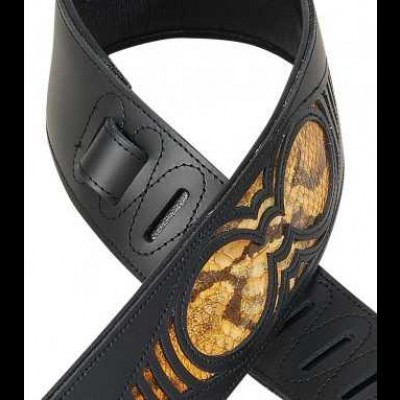 "Levy's Chrome Tan Black Leather Guitar Strap, Snake Insert  2 1/2"" M17WES-TAN"