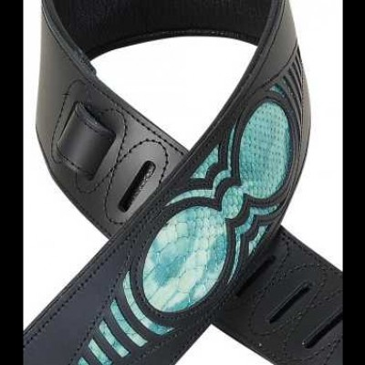 "Levy's Chrome Tan Black Leather Guitar Strap, Snake Insert  2 1/2"" M17WES-TEAL"