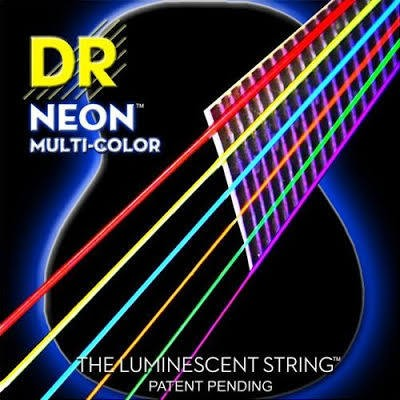 DR  Neon HiDef Multi-Colour 12-54 Acoustic Strings  Gauges: 12, 16, 24, 32, 42, 54. DR Strings NEONs are super bright color-coated strings that sound clear, bright and musical. These Multi-Color Medium Acoustics are an excellent idea for those learning to
