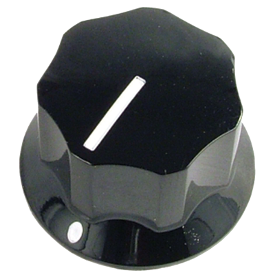 "Knob - Black, Line, Set Screw, 1.0""x.6"""