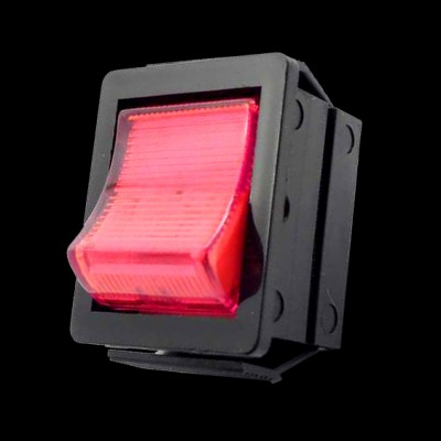Mains Rocker Switch Illuminated Red