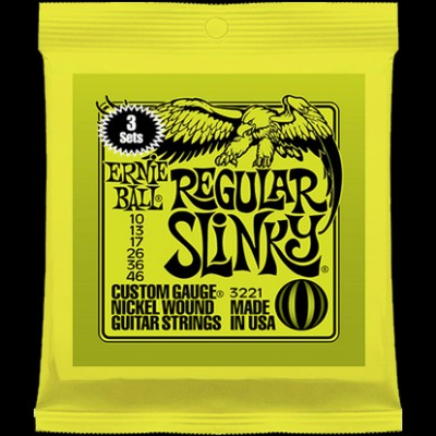 Ernie Ball 3 Pack Regular Slinky Nickel Wound .010 - 046