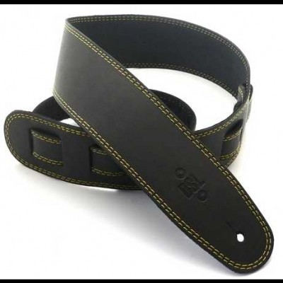 DSL Leather 2.5 Inch Black with Yellow Stitching