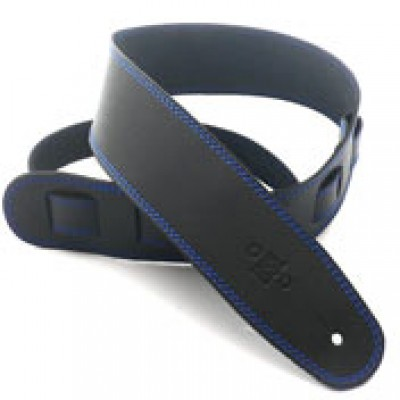 Leather 2.5 Inch Black with Blue Stitching SGE25-15-8