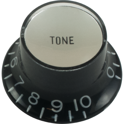 Top Hat Tone Knob Black with Silver Cap, Gibson style