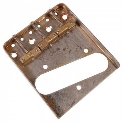 Guitar Tech Wilkinson Classic 3-Saddle Guitar Bridge (Distressed Chrome)
