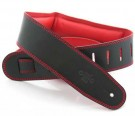 DSL Strap Leather, Leather Backing 2.5 inch Black / Red
