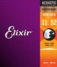 Elixir E16027 Phosphor Bronze Nanoweb Custom Light, 11-52