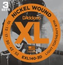 Daddario EXL140 Nickel Wound, Light Top/Heavy Bottom, 10-52 (3 Pack)