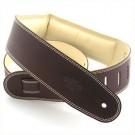 """DSL Guitar Strap - 2.5"""" Padded Garment Saddle Brown/Beige"""