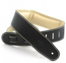 Guitar Strap Leather, Padded 2.5 inch Black / Beige, GEG25-15-3