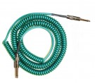 Retro Coil Cable 20ft, Straight Plugs (Metalic Green) LCRCMG