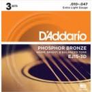 EJ15-3D 3 Pack Phosphor Bronze, Extra Light 10-47