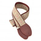 Guitar Strap Medallion Mustard on Burgundy