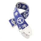 Guitar Strap Peace and Dove, Blue/White
